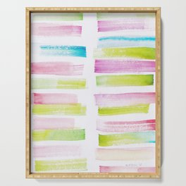 21  | 181101 Watercolour Palette Abstract Art | Lines | Stripes | Serving Tray