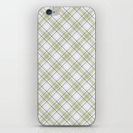 Diagonal tartan gray and yellow over white iPhone Skin