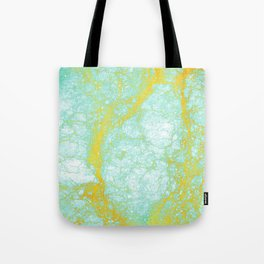 Abstract turquoise gold yellow white marble Tote Bag