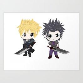 Cloud & Zack Final Fantasy chibi Art Print