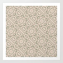 Squiggles in Green on Beige Art Print