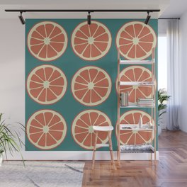 Grapefruit Slices on Blue, Red Orange Fruit Pattern Wall Mural