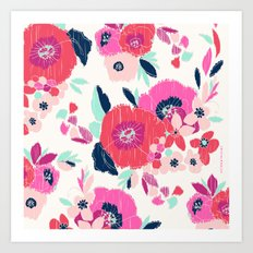 Janis Floral White Art Print