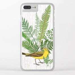 Botanical Bird wih Ferns Digital Collage of Vintage Elements Clear iPhone Case