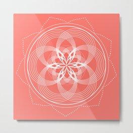 White Mandala On A Living Coral Background Metal Print