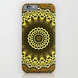 Elegant Floral Golden Mandala pattern iPhone Case