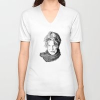 david fleck V-neck T-shirts featuring David by Rabassa