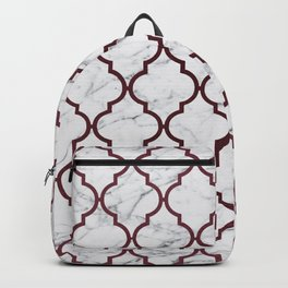 Burgundy gray white marble moroccan quatrefoil Backpack