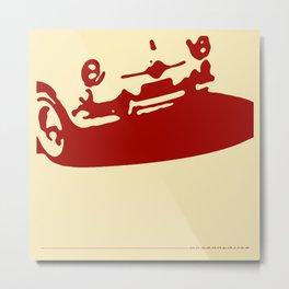Fiat 600 Detail, Red on Cream Metal Print