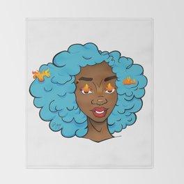 Bright blue Edda • Powerful Black Girl Magic Throw Blanket