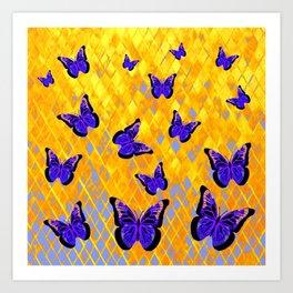 PURPLE BUTTERFLIES GOLDEN ART Art Print