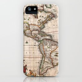 1658 Map of North America and South America with 2015 enhancements iPhone Case