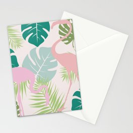 Green Leaves and Pink Flamingo pattern Stationery Cards