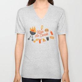 Kiss the Cook BBQ Pattern Unisex V-Neck