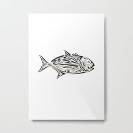Giant Trevally Side Isolated Tribal Art Metal Print