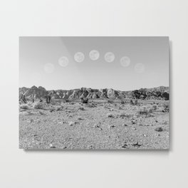 Desert Moon Ridge B&W // Summer Lunar Landscape Teal Sky Red Rock Canyon Rock Climbing Photography Metal Print