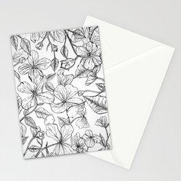 Balkan Honesty flower drawing / Lunaria annua flower  Stationery Cards