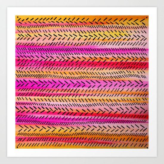 FUNKY RHYTHM 2 - Beautiful Fun Collaboration w Sreetama Ray, Pretty Feminine Pink Orange Pattern Art Print