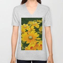 GOLDEN YELLOW  FLOWERS  GARDEN Unisex V-Neck