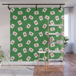 Playing cards diamonds suit on green Wall Mural