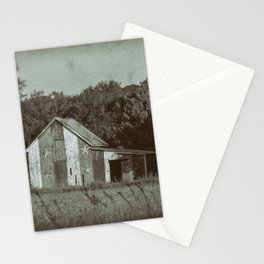 Patriotic Barn in Field Vintage Black and White Glass Plate Rural Landscape Photo Stationery Cards