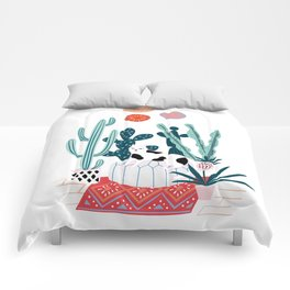 Cat and cacti Comforters