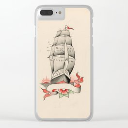 Vintage Tattoo Design with a Ship Clear iPhone Case