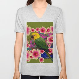 YELLOW HEADED GREEN PARROT PINK HIBISCUS KHAKI FLORAL Unisex V-Neck