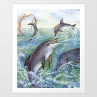 dolphins Art Prints featuring Dolphins by Natalie Berman