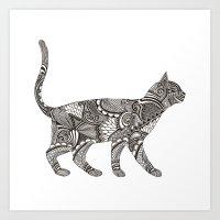 Walking Cat Art Print