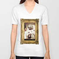 bitch V-neck T-shirts featuring Sloth Astronaut by Bakus