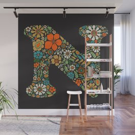 Hippie Floral Letter N Wall Mural