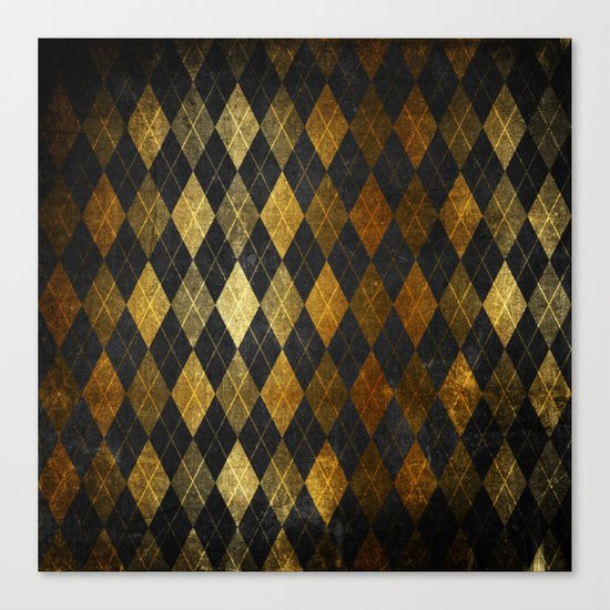 Black and gold geometric abstract pattern II- Luxury design for your home Canvas Print