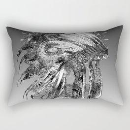 black and white mandala headdress Rectangular Pillow