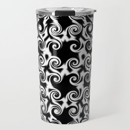 Curlicues Pentagon Black and White Pattern Travel Mug