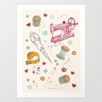 sewing Art Prints featuring Sewing by Epoque Graphics