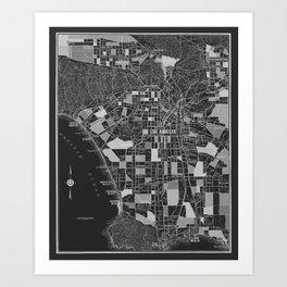 Los Angeles - Black Art Print
