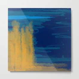 Bluish Blues 3 - Blues, Yellows, Light Blue Metal Print