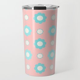 Blue and white flowers over pink Travel Mug