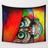 dia de los muertos Wall Tapestries featuring Dia De Los Muertos  by Georgiart