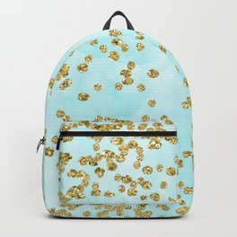 Sparkling gold glitter confetti on aqua ocean blue watercolor background - Luxury pattern Backpack
