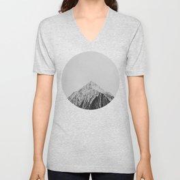 Mid Century Modern Round Circle Photo Grey Minimalist Monochrome Snow Mountain Peak Unisex V-Neck