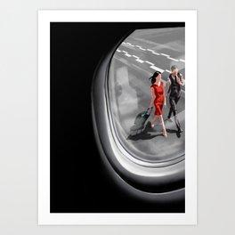 Couple before boarding illustration Art Print