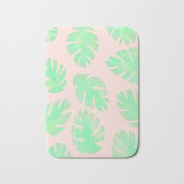 Tropical Pastel Pink and Green Monstera Leaf Bath Mat