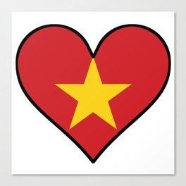 Vietnamese Flag Heart Canvas Print