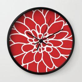 Red Modern Dahlia Flower Wall Clock