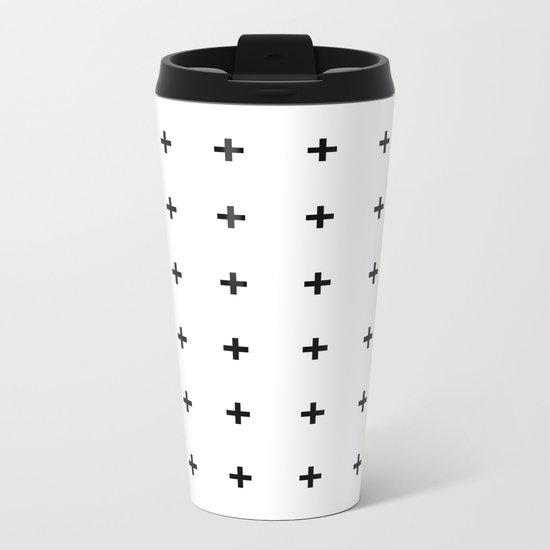 Black Plus on White /// www.pencilmeinstationery.com Metal Travel Mug