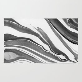 Black and White Ink Marbling 03 Rug