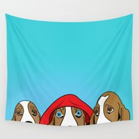 dogs Wall Tapestries featuring dogs  by mark ashkenazi