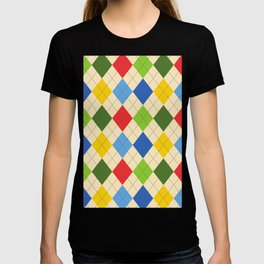 Colorful circus harlequin green red yellow blue beige retro vintage argyle pattern T-shirt